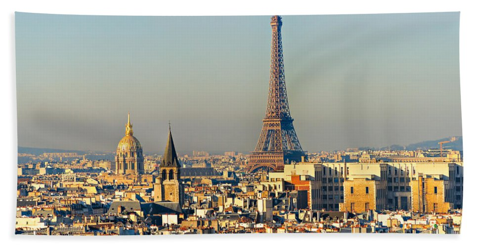 Aerial Hand Towel featuring the photograph Paris by Luciano Mortula