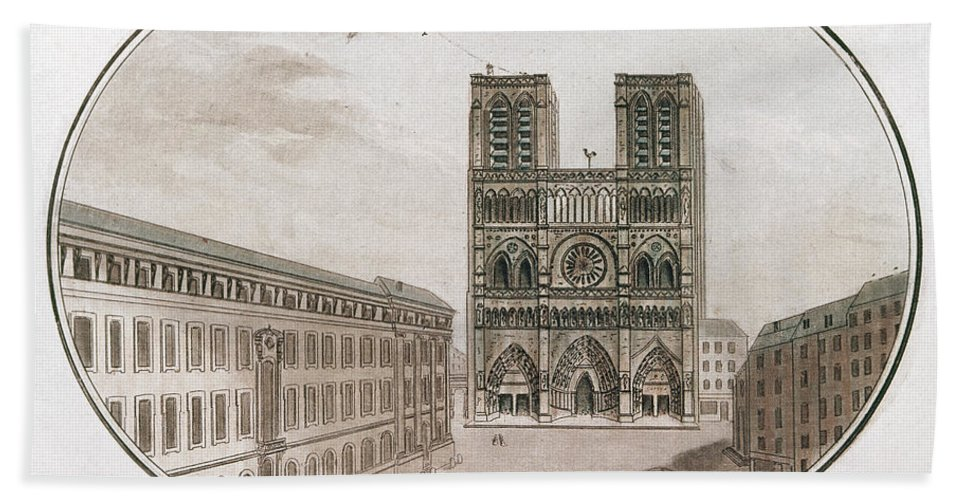 18th Century Bath Sheet featuring the drawing Paris Notre Dame, 1700s by Granger