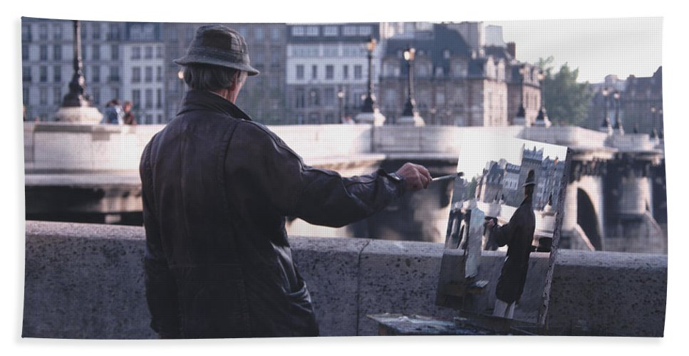 Seine Bath Sheet featuring the photograph Paris Painter Inspiration Magritte by Tom Wurl
