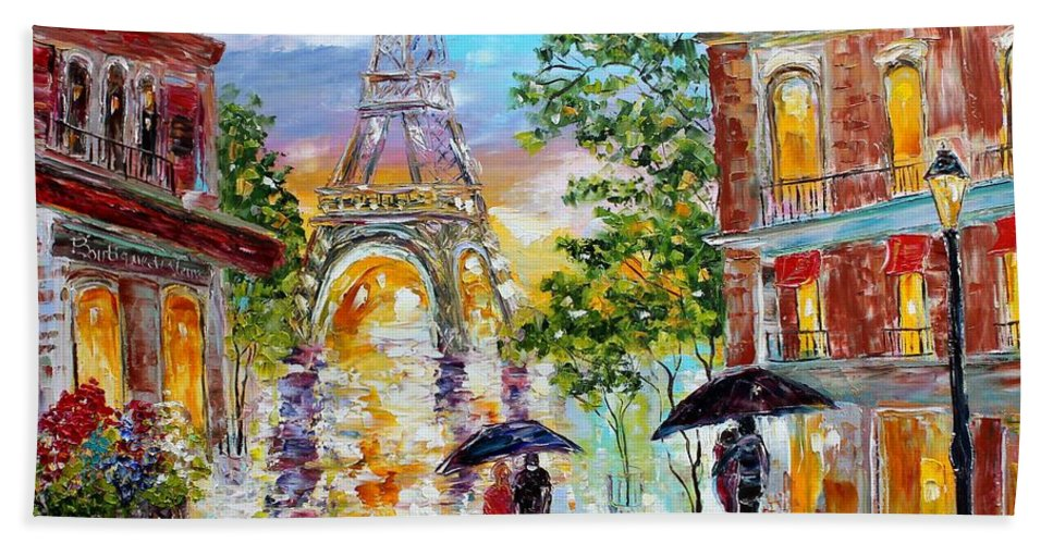 Romance Paintings Hand Towel featuring the painting Paris Romance by Karen Tarlton
