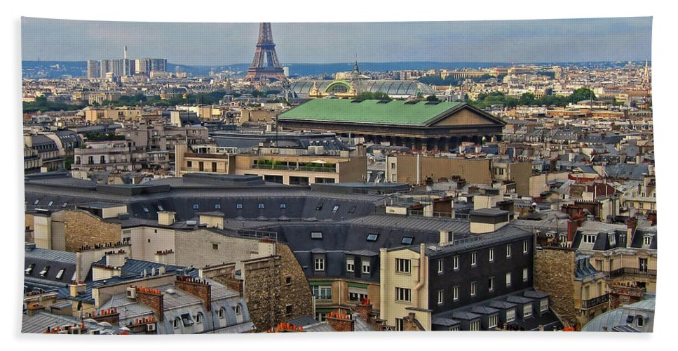 Paris Hand Towel featuring the photograph Paris Rooftops by Dave Mills