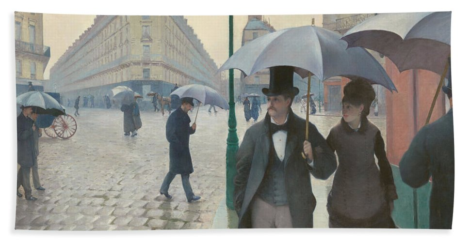 Gustave Caillebotte Hand Towel featuring the painting Paris Street In Rainy Weather by Gustave Caillebotte