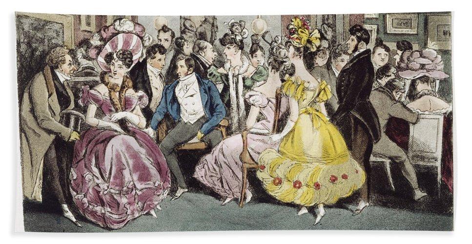 1825 Bath Sheet featuring the painting Parisian Salon, 1825 by Granger