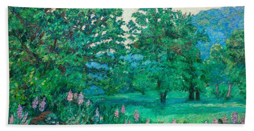 Landscape Bath Towel featuring the painting Park Road In Radford by Kendall Kessler