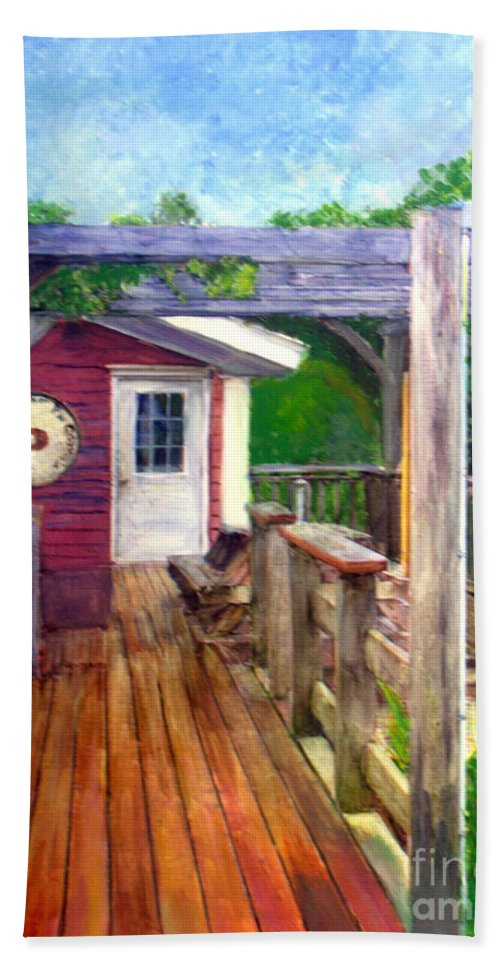 Building Hand Towel featuring the painting Parker Pie In West Glover Vt by Donna Walsh