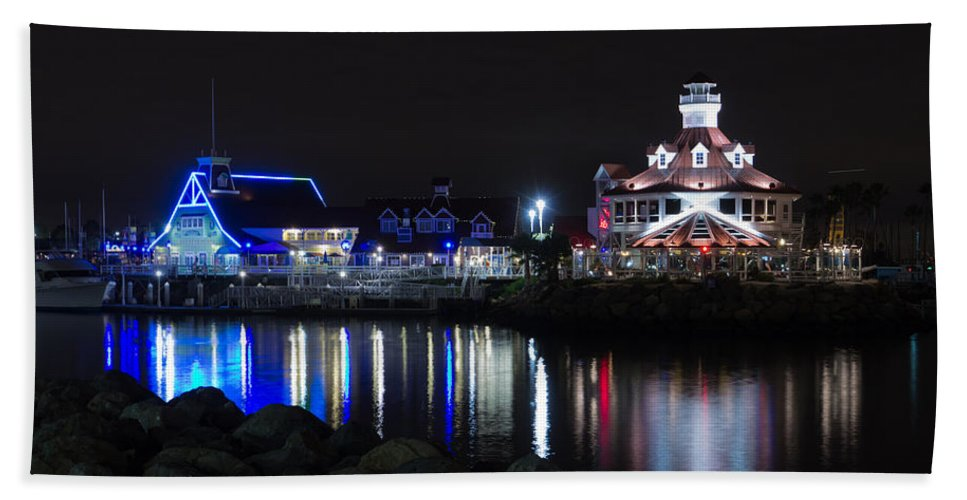 America Hand Towel featuring the photograph Parker's Lighthouse Reflections by Heidi Smith