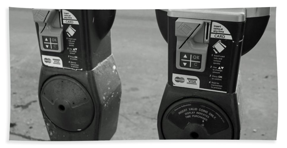City Life Bath Sheet featuring the photograph Parking Meters by Debbie Nobile