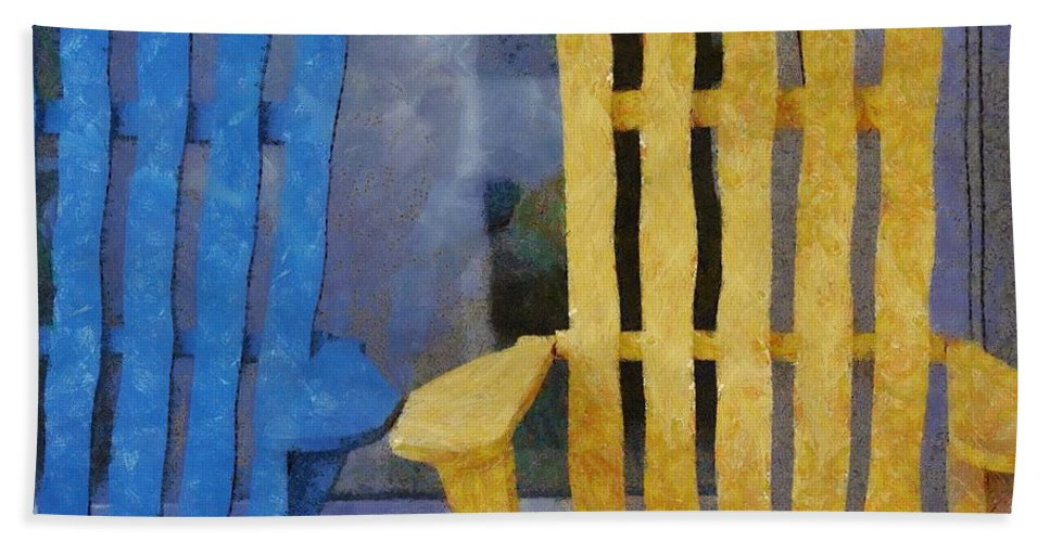 Chair Hand Towel featuring the painting Parking Spot by Jeffrey Kolker
