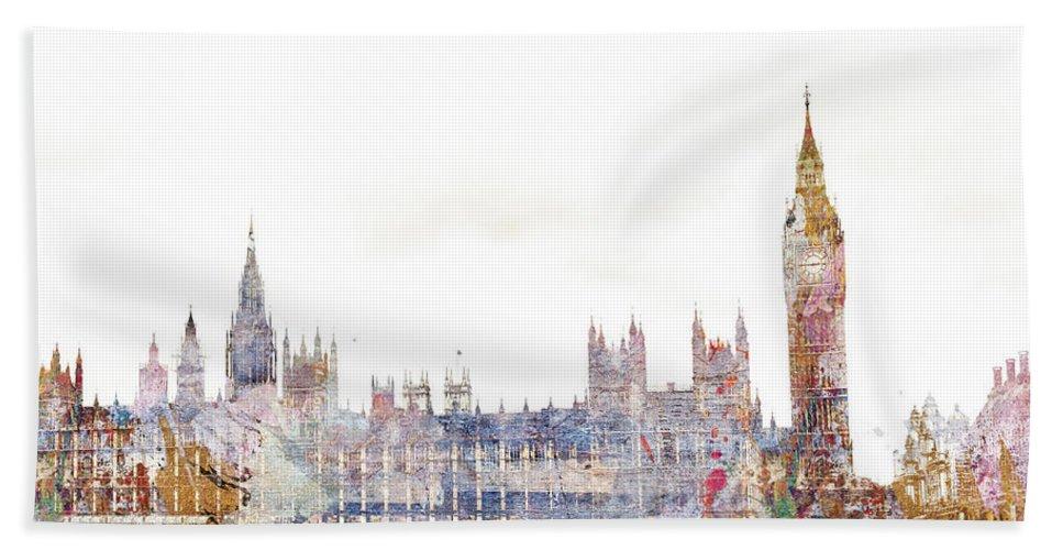 London Bath Towel featuring the digital art Parliament Color Splash by MGL Meiklejohn Graphics Licensing