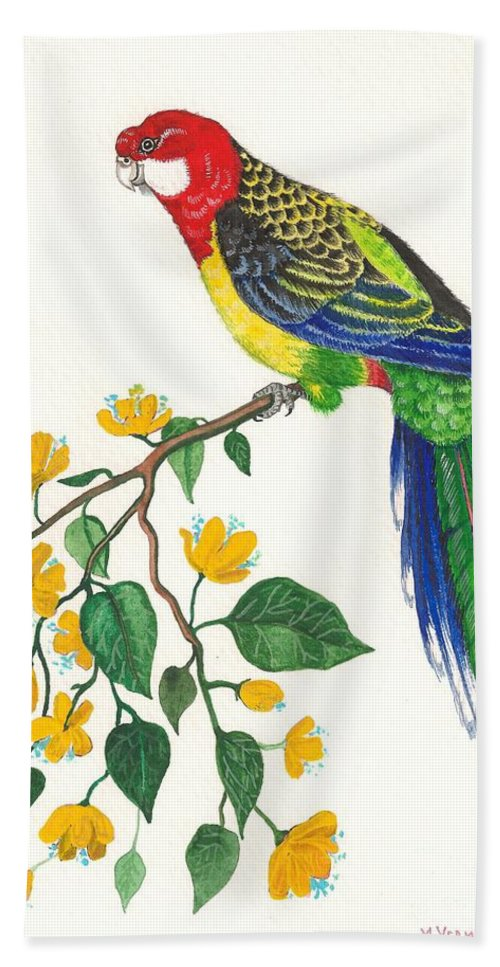 Original Watercolor Painting Hand Towel featuring the painting Parrot by Margaryta Yermolayeva