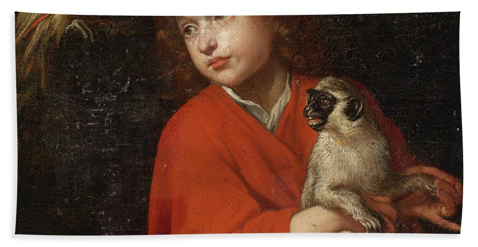 Jacob Van Oost The Elder Bath Sheet featuring the painting Parrot Watching A Boy Holding A Monkey by Jacob van Oost the Elder