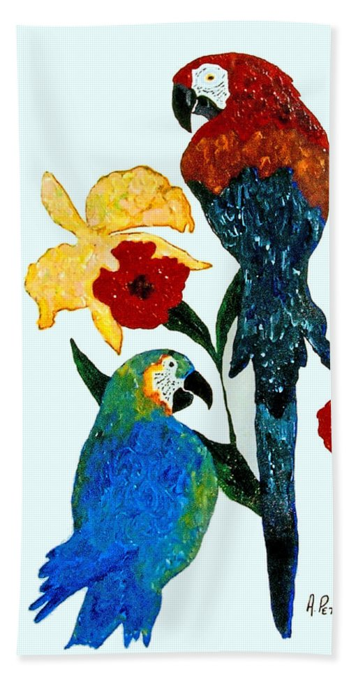 Parrots Hand Towel featuring the painting Parrots by Andrew Petras