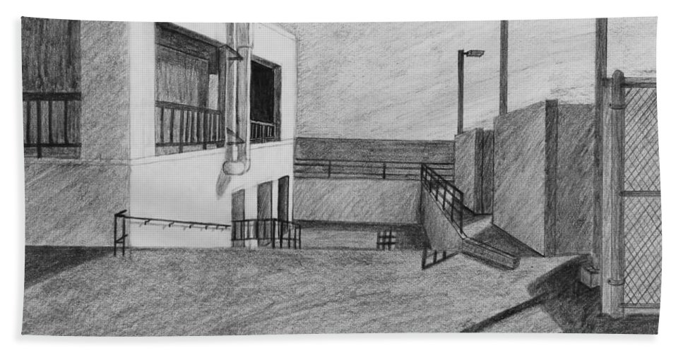 Pencil Sketch Bath Sheet featuring the drawing Part Of School Building by Kume Bryant