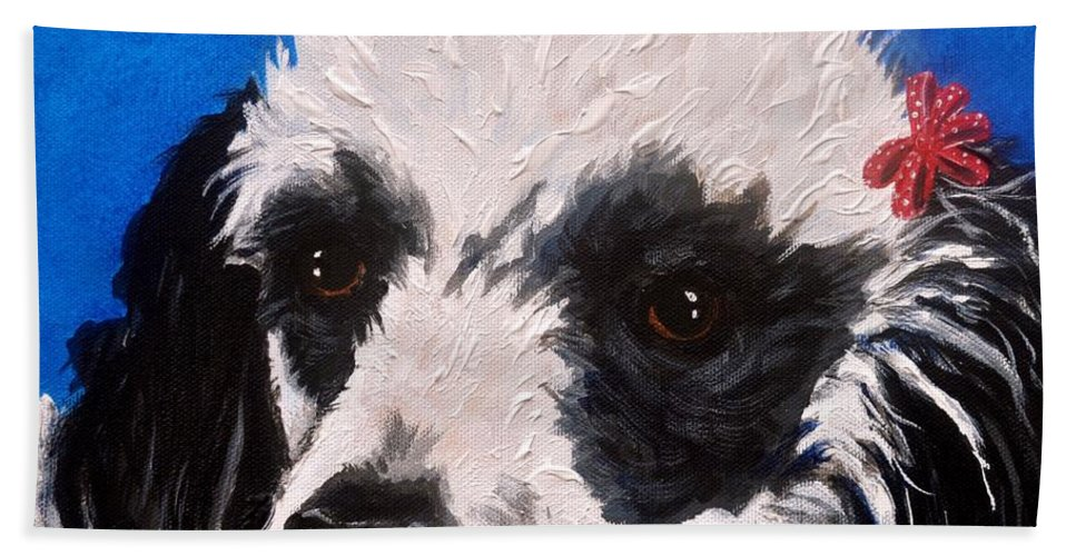 Parti Poodle Hand Towel featuring the painting Parti Poodle by Debi Starr
