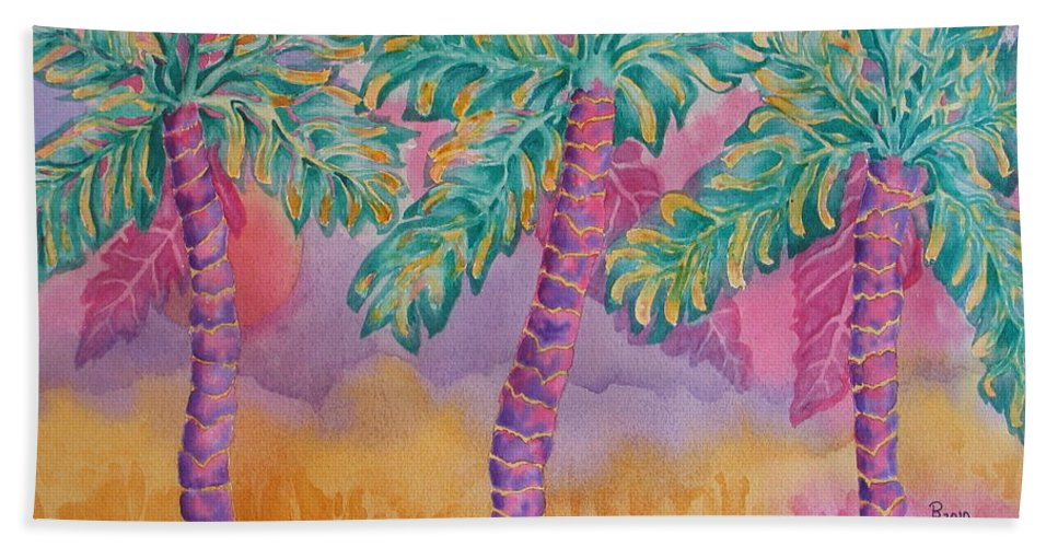 Palm Tree Hand Towel featuring the painting Party Palms by Rhonda Leonard