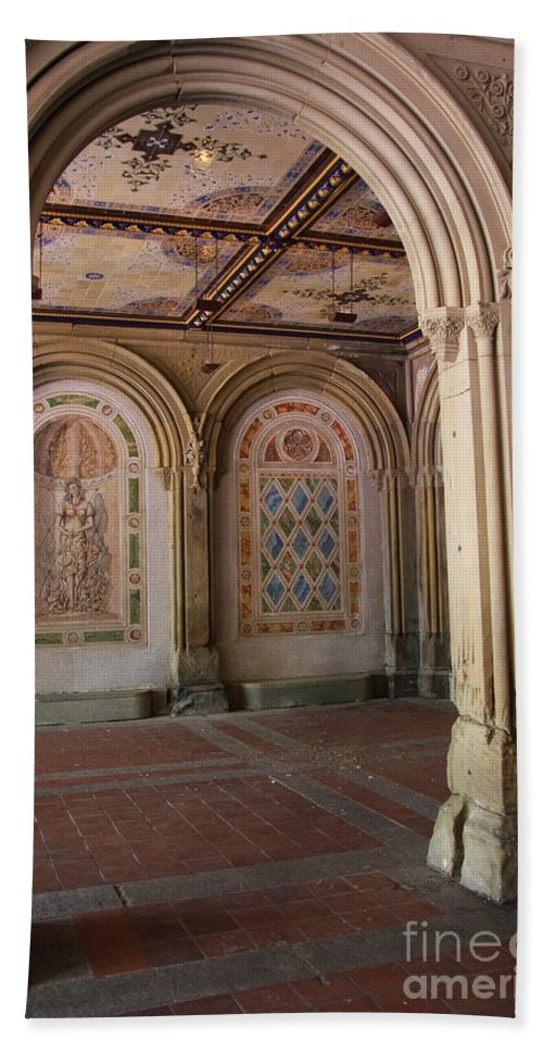 Arch Hand Towel featuring the photograph Passage Bethesda Terrace Nyc by Christiane Schulze Art And Photography