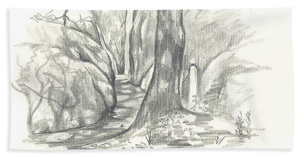 Passageway At Elephant Rocks Bath Sheet featuring the drawing Passageway At Elephant Rocks by Kip DeVore