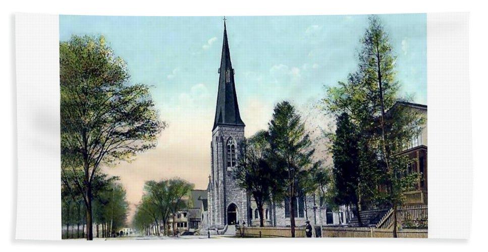 Passaic Bath Sheet featuring the digital art Passiac New Jersey - Norht Reformed Church - 1910 by John Madison