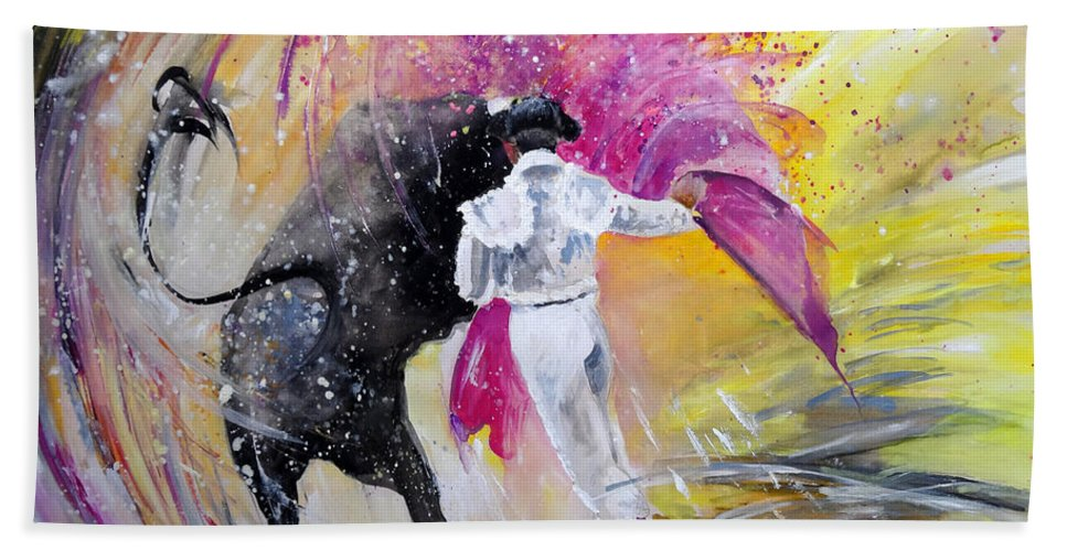 Animals Bath Sheet featuring the painting Passing Pink by Miki De Goodaboom
