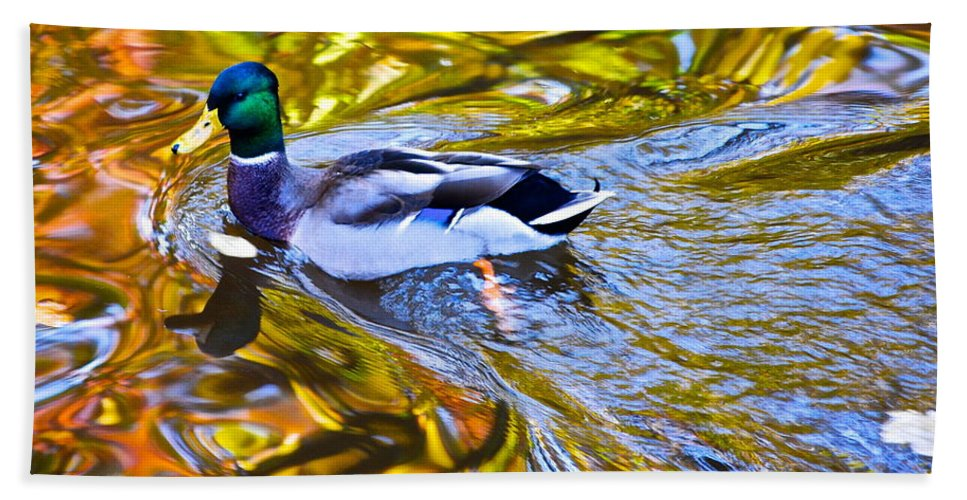 Mallard Hand Towel featuring the photograph Passing Through by Frozen in Time Fine Art Photography