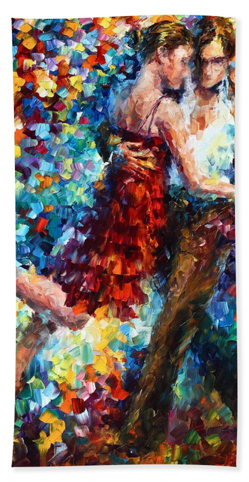 Afremov Bath Towel featuring the painting Passion Dancing by Leonid Afremov