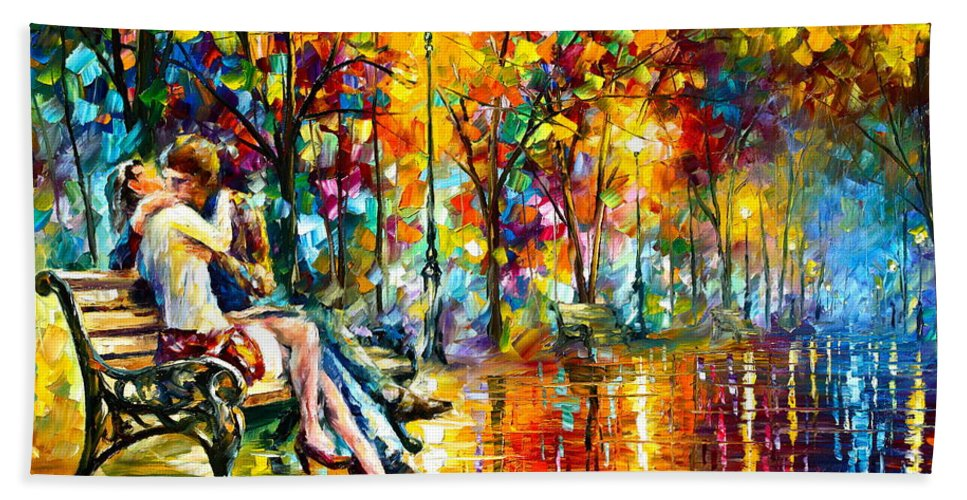 Couple Hand Towel featuring the painting Passion Evening - New by Leonid Afremov