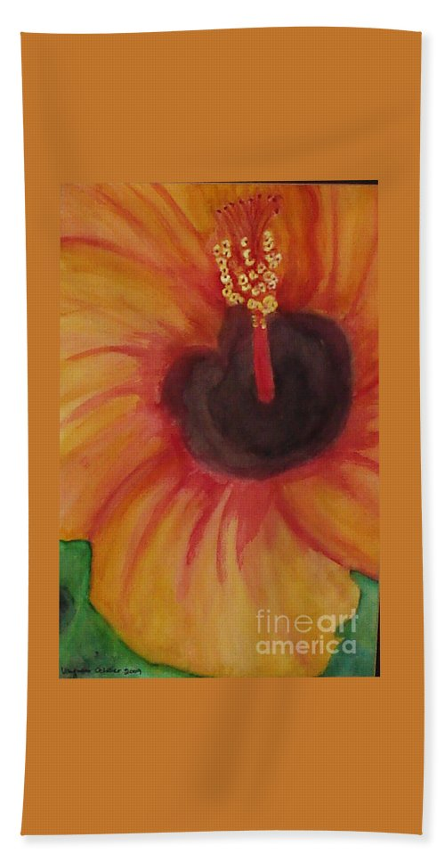 Water Color Flower Bath Sheet featuring the painting Passion Flower by Yael VanGruber