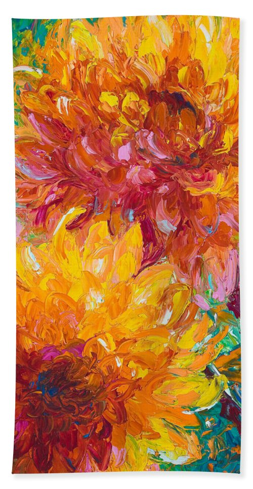 Dahlia Hand Towel featuring the painting Passion by Talya Johnson