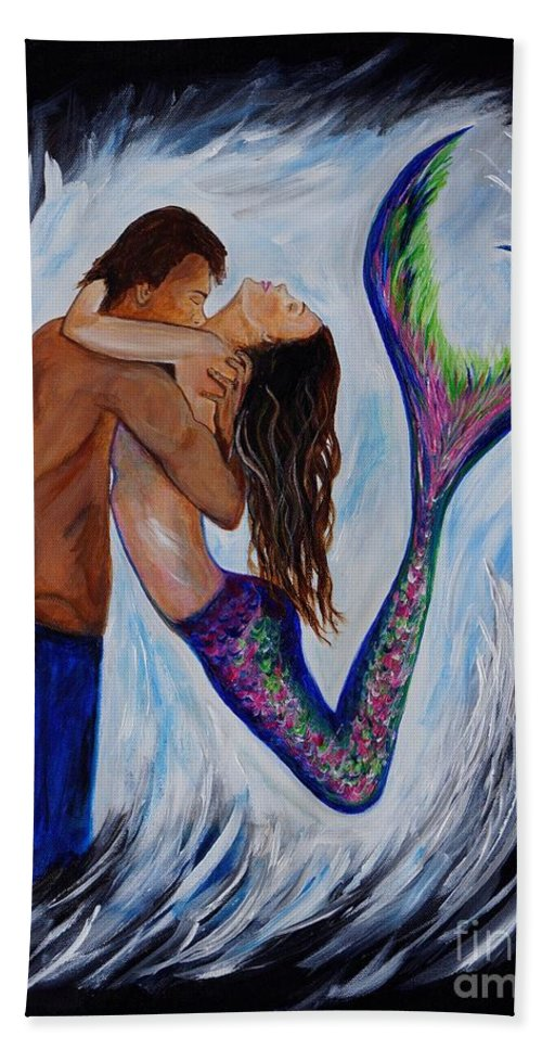Mermaid Painting Hand Towel featuring the painting Passionate Mermaid by Leslie Allen