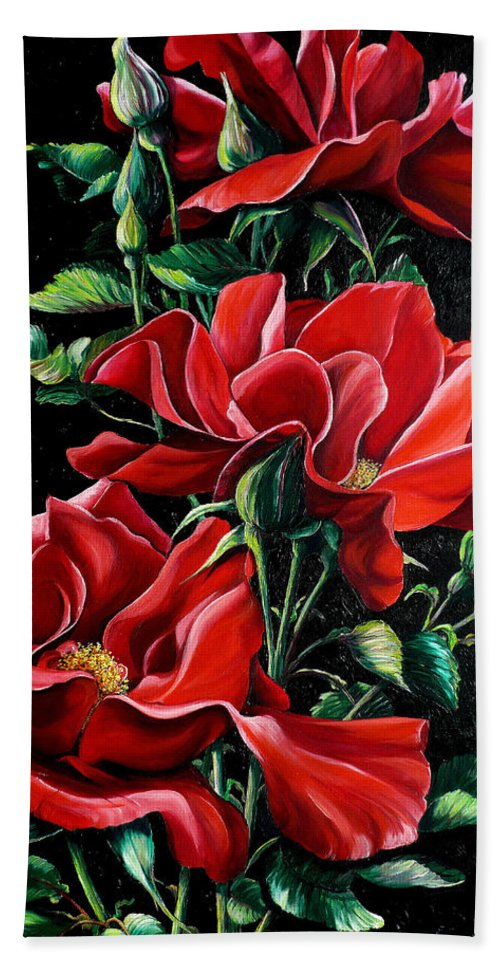 Rose Paintings Red Floral Paintings Flower Paintings  Botanical Paintings Red Rose Paintings Greeting Card Paintings Canvas Print Paintings  Bath Sheet featuring the painting Passionately Red by Karin Dawn Kelshall- Best