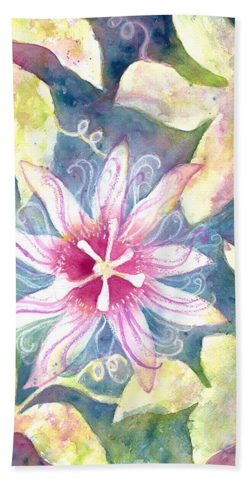 Passion Flower Painting Bath Sheet featuring the painting Passionflower by Kelly Perez