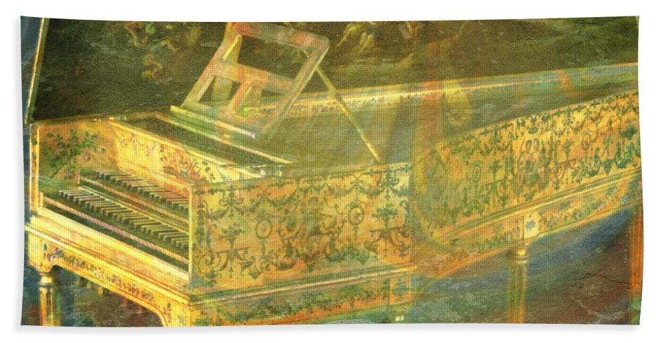 Harpsichord Bath Sheet featuring the mixed media Past To Present by Ally White