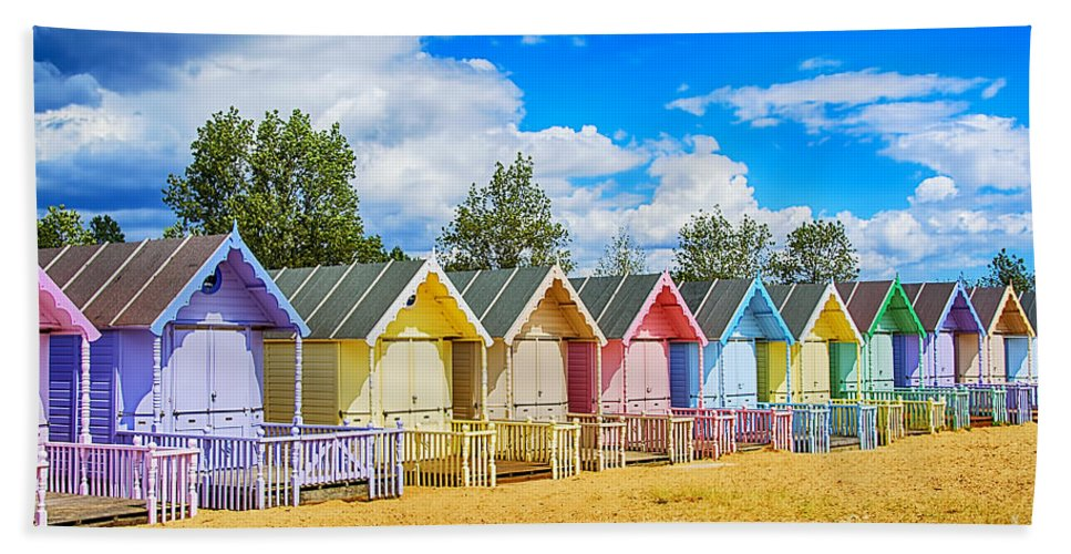 Beach Huts Canvas Hand Towel featuring the photograph Pastel Beach Huts by Chris Thaxter