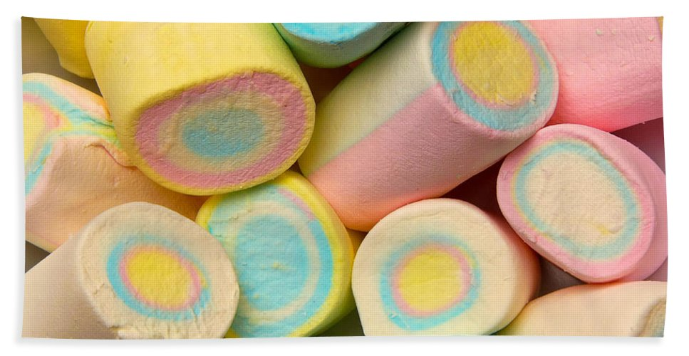 A Lot Hand Towel featuring the photograph Pastel Colored Marshmallows by Amy Cicconi