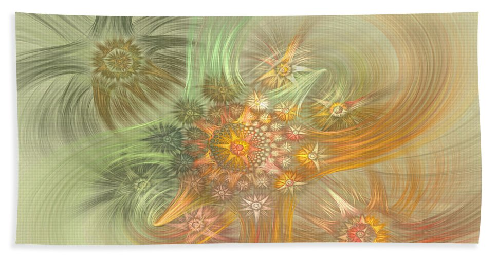 Fractal Hand Towel featuring the digital art Pastel Delicate Pattern by Deborah Benoit