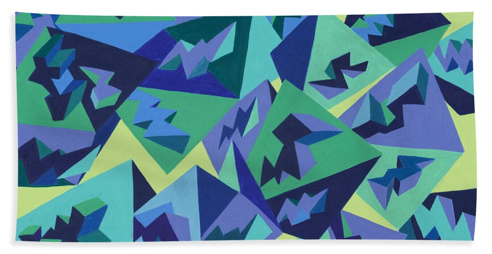 Pyramids Hand Towel featuring the painting Pastel Pyramids by Sean Corcoran