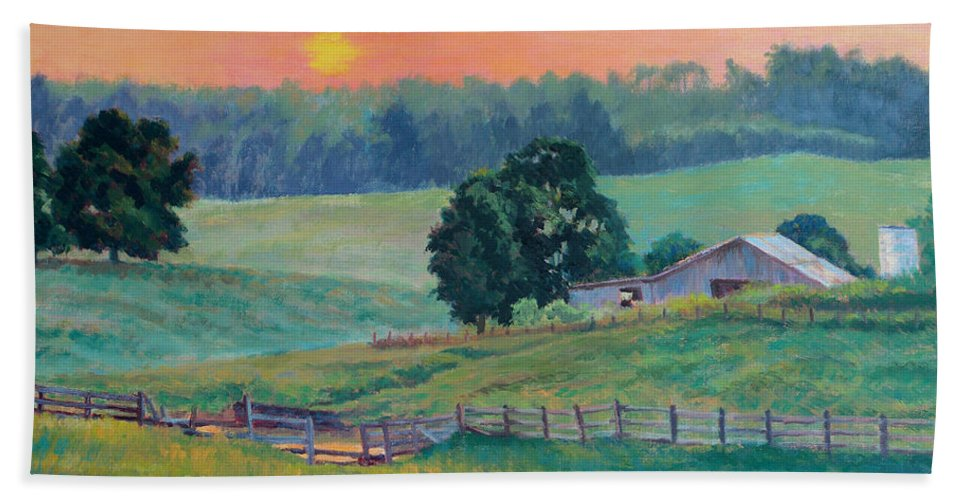 Impressionism Hand Towel featuring the painting Pastoral Sunset by Keith Burgess