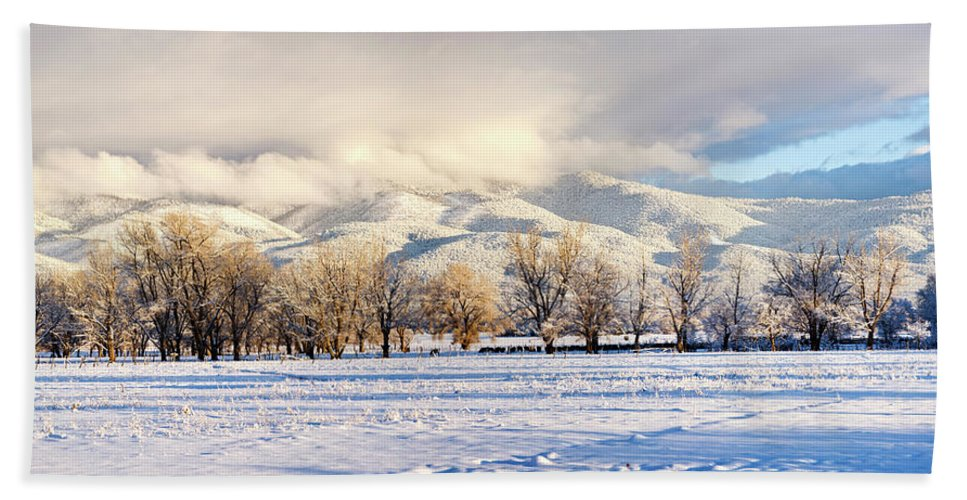 Photography Hand Towel featuring the photograph Pasture Land Covered In Snow With Taos by Panoramic Images