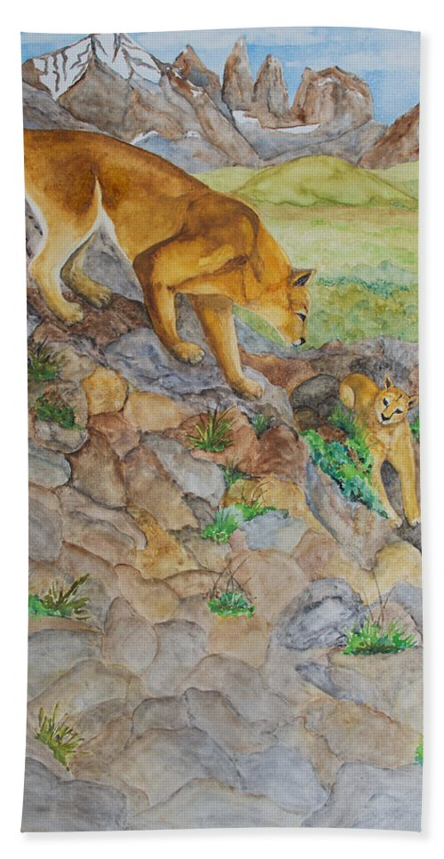 Puma Hand Towel featuring the painting Patagonia Pumas by Patricia Beebe