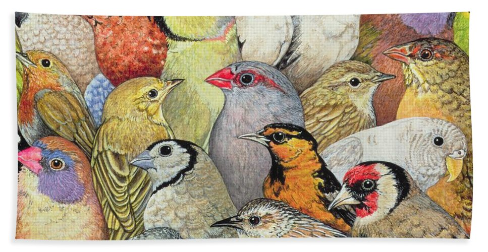 Patchwork-birds Bath Towel featuring the painting Patchwork Birds by Ditz