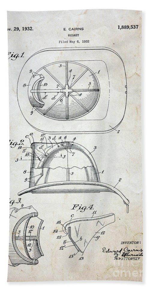 Paul Ward Bath Sheet featuring the photograph Patent - Fire Helmet by Paul Ward