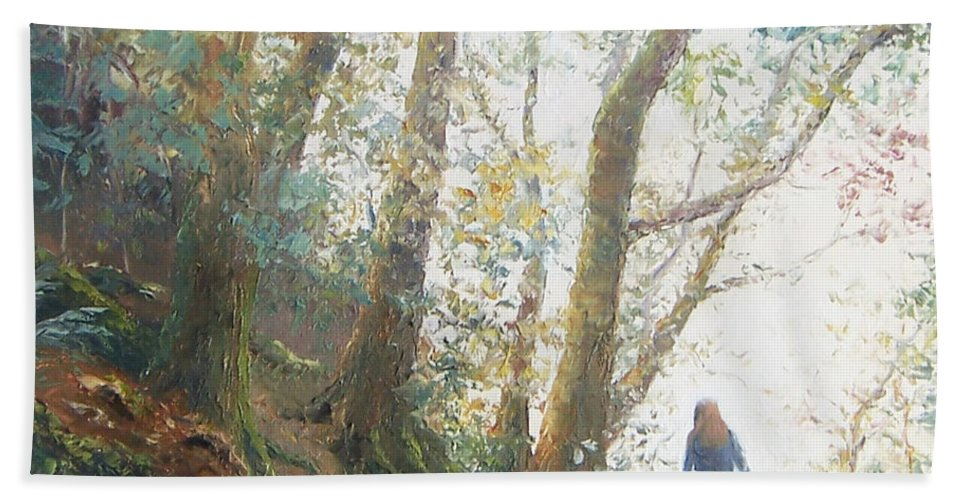 Landscape Hand Towel featuring the painting Path In The Woods by Jan Matson