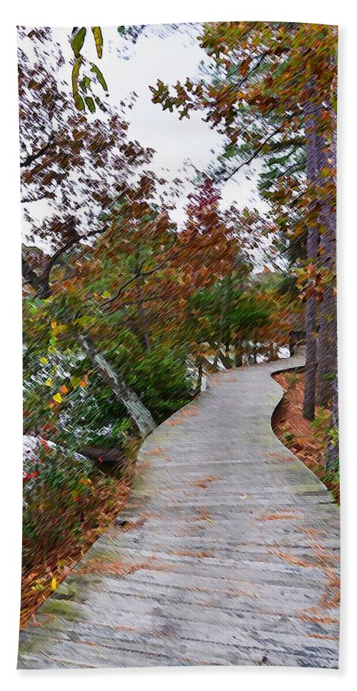 Beautiful Hand Towel featuring the painting Path Through The Wetlands 10 by Jeelan Clark