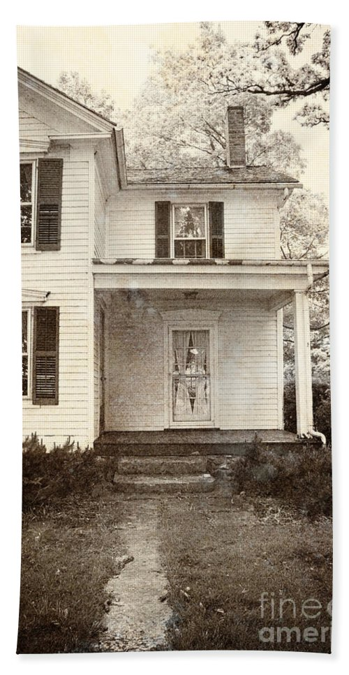 House; Home; Porch; Door; Steps; Cement; Settling; Old; Dirty; Grunge; Broken; Sepia; Facade; Locked; Closed; Siding; White; Wood; Wooden; Path; Trees; Bushes; Windows; Two Story; Farm House Hand Towel featuring the photograph Path To The Door by Margie Hurwich