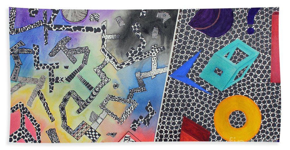 Abstract Bath Sheet featuring the painting Pathway by Shannan Peters