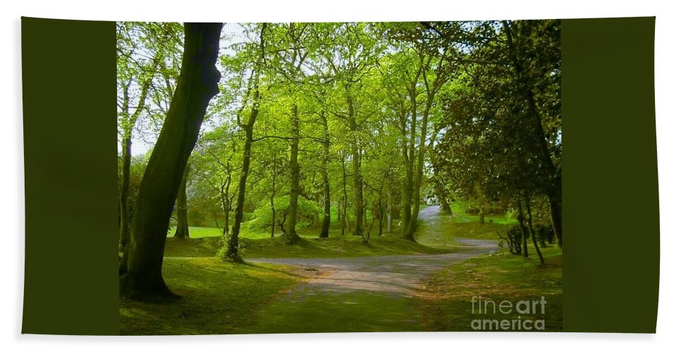 Trees Hand Towel featuring the photograph Pathway Through The Trees by Joan-Violet Stretch
