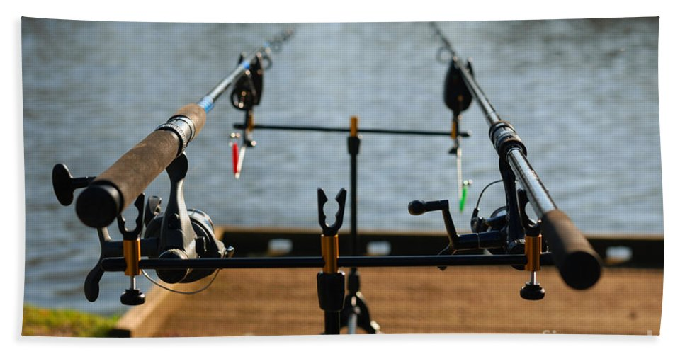 Fishing Rod Pole Fish Lake Waiting Reels Line Patience Pond Hand Towel featuring the photograph Patience by Richard Gibb
