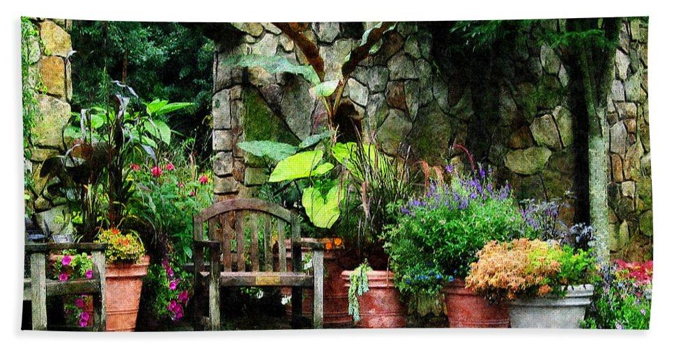 Garden Bath Sheet featuring the photograph Patio Garden In The Rain by Susan Savad