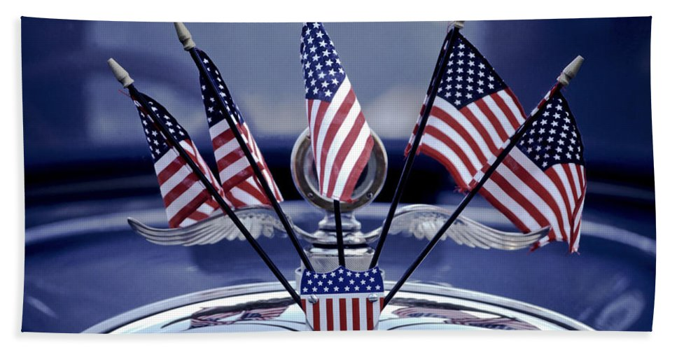 Antique Hand Towel featuring the photograph Patriotic Car by David and Carol Kelly