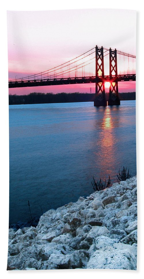 Pastel Sunset Hand Towel featuring the photograph Patriotic Sunset Thru Bridge by Randall Branham